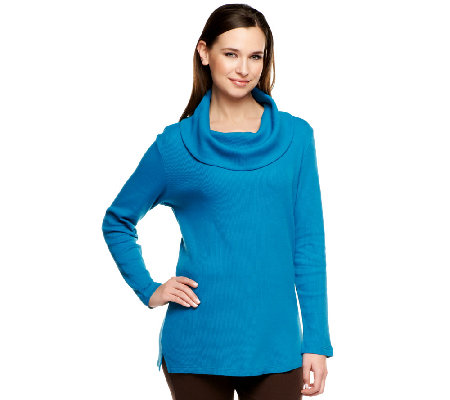Denim & Co. Long Sleeve Cowl Neck Thermal Tunic