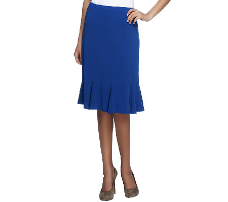 Susan Graver Solid Liquid Knit Skirt with Godets & Elastic Waist
