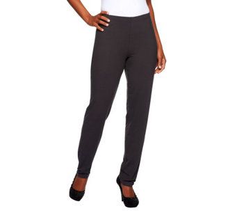 Women with Control Flat Front No Side Seam Petite Pants - A227647
