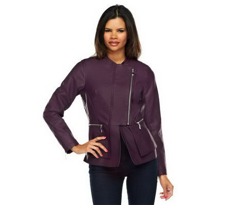 Jennifer Hudson Collection Faux Leather Jacket with Zipper Detail