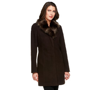Dennis Basso Faux Wool Coat with Removable Faux Fox Fur Collar - A229347
