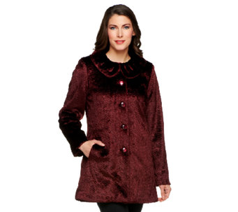Dennis Basso Faux Persian Fur Coat with Ruffle Collar - A229747