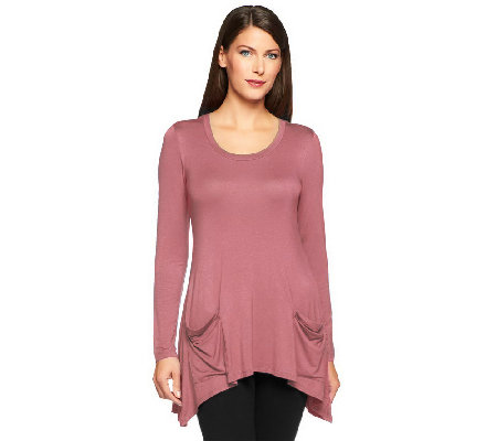LOGO by Lori Goldstein Knit Top with Chiffon Back Inset & Pockets