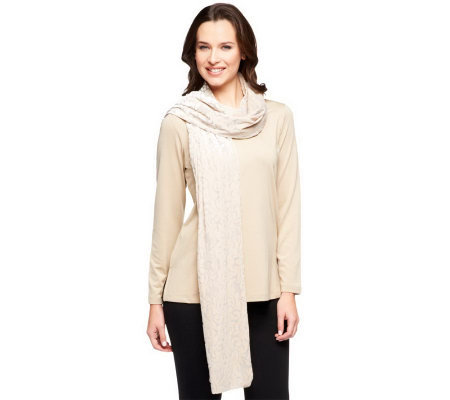 Susan Graver Butterknit Long Sleeve Top with Burnout Velvet Scarf