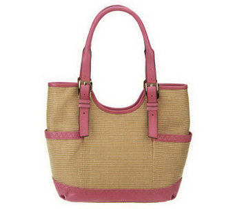 """As Is"" B. Makowsky Straw Tote with Leather Trim & Buckle Accents - A238847"