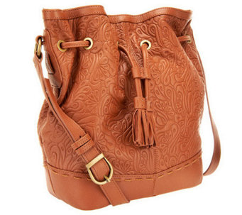 Muxo by Camila Alves Tooled Leather Drawstring Hobo Bag - A239247