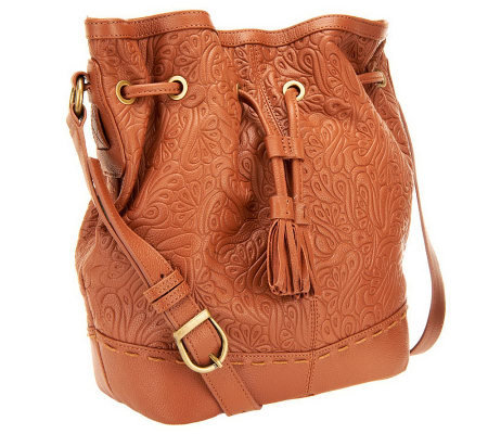 Muxo by Camila Alves Tooled Leather Drawstring Hobo Bag