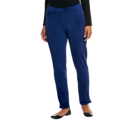 Susan Graver Knit Velour Ankle Pants w/ Hem Zipper Detail