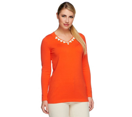 Susan Graver Long Sleeve V-Neck Sweater with Neckline Embellishment