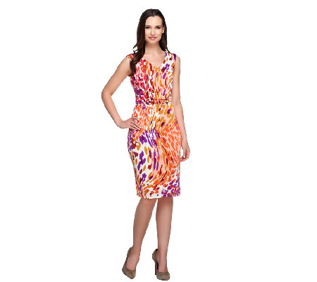 Kelly by Clinton Kelly Animal Print Knit Dress with Waist Detail