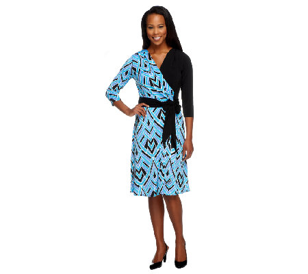 Bob Mackie's Printed 3/4 Sleeve Wrap Dress with Sash
