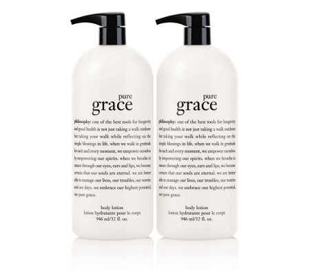 philosophy super-size pure grace lotion 32 oz. duo