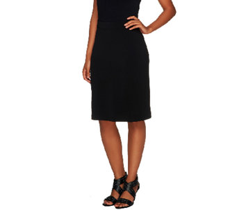 Susan Graver Essentials Liquid Knit Pull-on Pencil Skirt - A256347