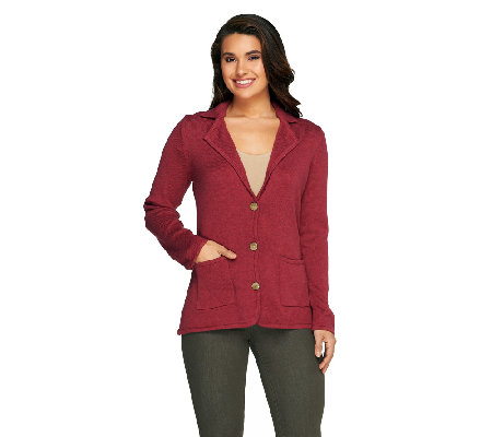 Liz Claiborne New York Cotton Cashmere Blazer with Elbow Patches