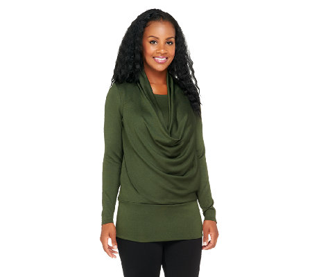 George Simonton Cowl Neck Sweater Knit Top with Blouson Waist