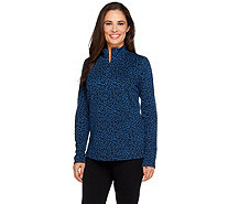 Linea by Louis Dell'Olio Knit Jacquard Animal Mock Neck Top - A257347