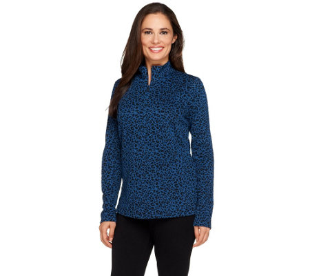 Linea by Louis Dell'Olio Knit Jacquard Animal Mock Neck Top