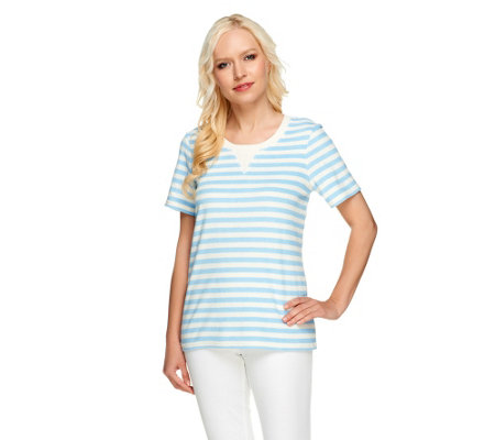 """As Is"" Denim & Co. Active Knit Terry Short Sleeve Top Striped Top"