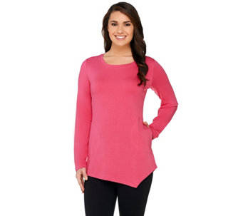 LOGO Lounge by Lori Goldstein French Terry Asymmetric Hem Scoop Neck Top - A262647