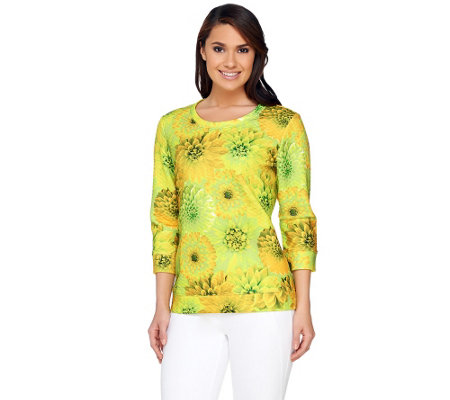 Isaac Mizrahi Live! Photoreal Floral Printed Pullover