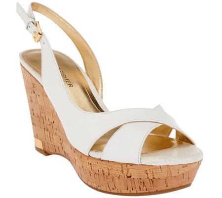Marc Fisher Leather Open-toe Wedges w/ Backstrap - Wasin II