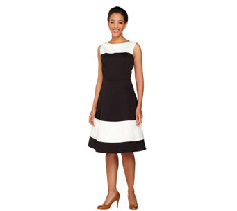 Dennis Basso Woven Sleeveless Color-Block Dress - A264947