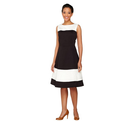 Dennis Basso Woven Sleeveless Color-Block Dress