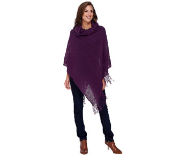 Denim & Co. Cowl Neck Poncho with Fringe - A269347