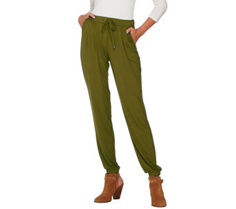 H by Halston Petite Knit Pull-On Drawstring Jogger Pants - A269447