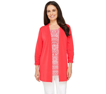 """As Is"" Susan Graver Liquid Knit Cardigan & Printed Tunic Set - A270847"