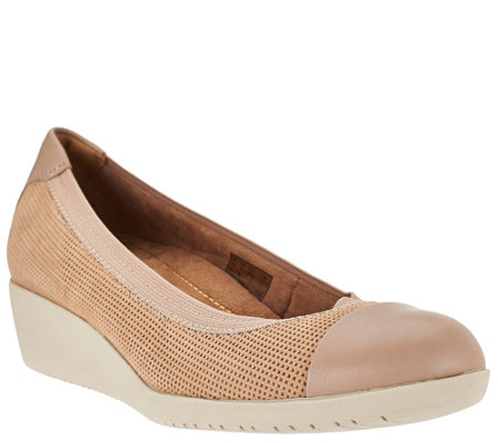 Clarks Artisan Leather Wedge Slip-ons - Petula Sadie