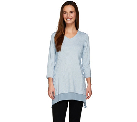 LOGO by Lori Goldstein Micro Stripe Knit Top with Chiffon Trim