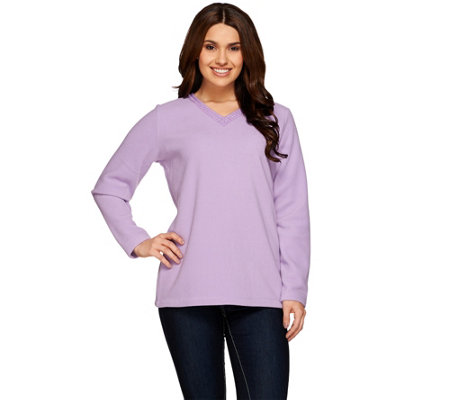 Denim & Co. Fleece V-neck Top with Neckline Embroidery