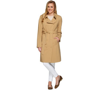 Isaac Mizrahi Live! Water Repellant Soft Trench Coat - A273647