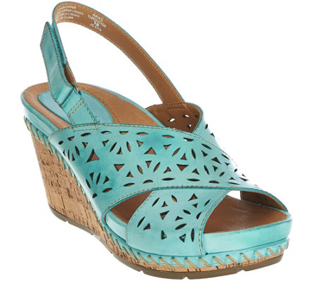 Earth Leather Perforated Peep-toe Wedges - Aries