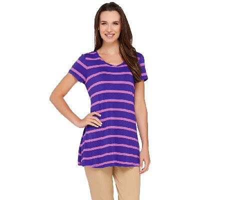"""As Is"" LOGO by Lori Goldstein Short Sleeve Scoop Neck Stripe Top"