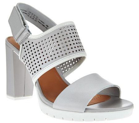 Clarks Artisan Leather Perforated Strap Sandals - Pastina Mallory