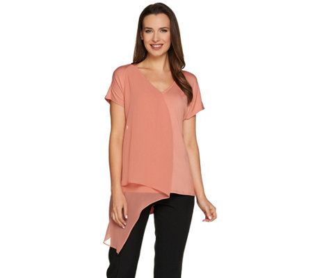 H by Halston Knit Top with Chiffon Cascade Front Overlay