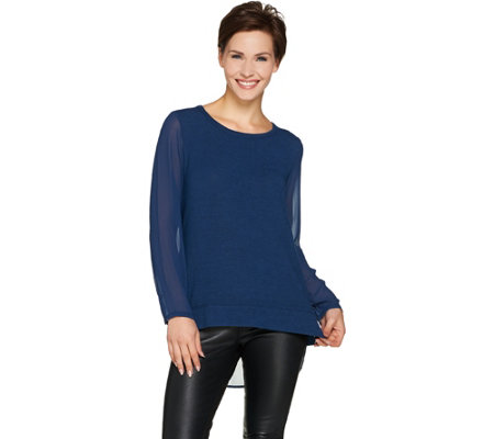 Lisa Rinna Collection Mixed Media Long Sleeve Hi-Low Hem Top