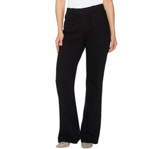 Isaac Mizrahi Live! Petite Knit Denim Flared Pants w/ Patch Pockets - A279047