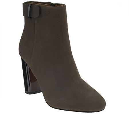 """As Is"" G.I.L.I. Leather Block Ankle Boots -Kallie"