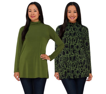 """As Is"" Susan Graver Printed & Solid Liquid Knit Set of 2 Turtleneck Tops - A280447"