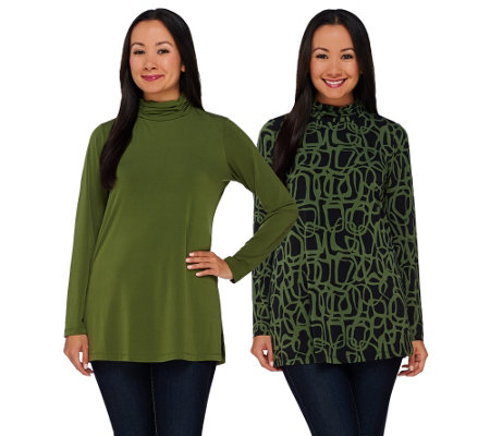 """As Is"" Susan Graver Printed & Solid Liquid Knit Set of 2 Turtleneck Tops"