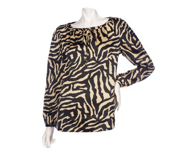 """As Is"" Dennis Basso Printed Stretch Charmeuse Top - A280747"