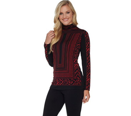 Susan Graver Printed Liquid Knit Long Sleeve Turtleneck Top