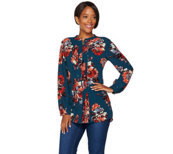 Isaac Mizrahi Live! Fall Floral Printed Pleat Front Blouse - A281347