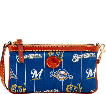 Dooney & Bourke MLB Nylon Brewers Large Slim Wristlet