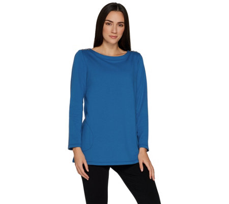 Susan Graver Weekend French Terry Tunic with Button Detail