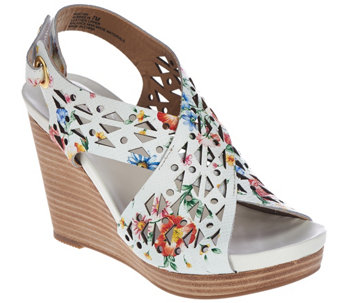 """As Is"" Me Too Leather Perforated Cross Strap Wedges - Aubree - A283747"