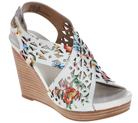 """As Is"" Me Too Leather Perforated Cross Strap Wedges - Aubree"